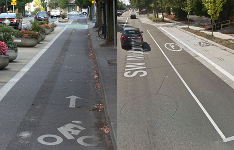 One-way protected bike lane