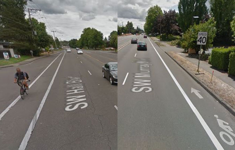 Standard bike lane (5 lane road)