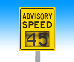 Advisory speed signs