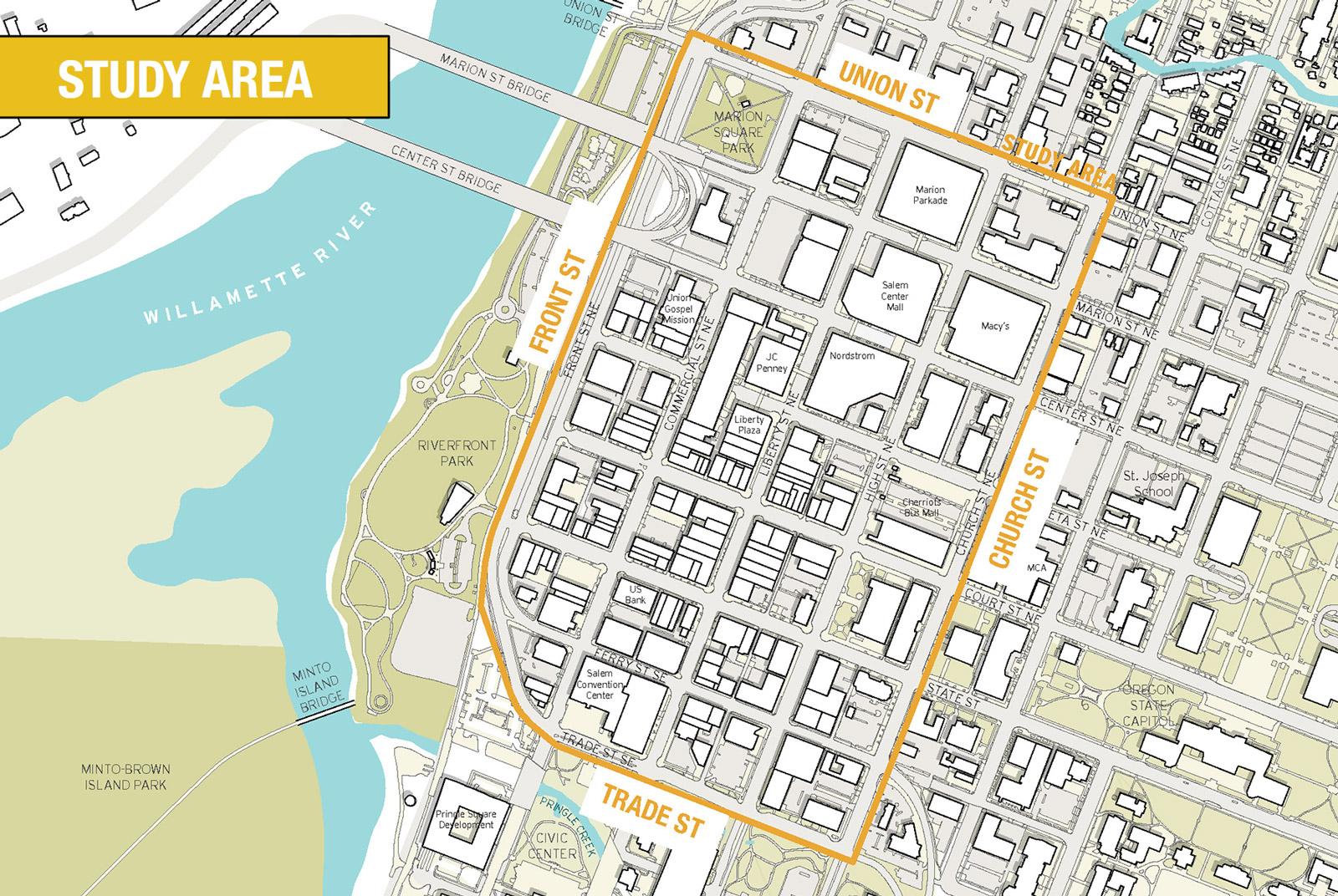 Map Of Downtown Salem Oregon Salem Streetscape Plan